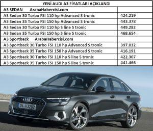 2021 A3 Sedan fiyat listesi