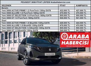 Peugeot 3008 fiyat listesi 2021