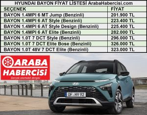 Hyundai Bayon fiyat listesi.