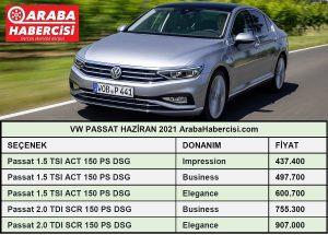 Volkswagen Passat fiyat listesi Haziran
