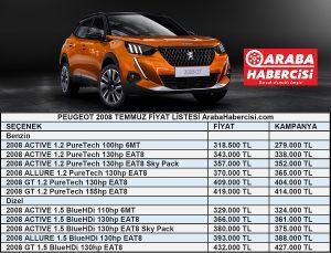 Peugeot 2008 fiyat listesi Temmuz.