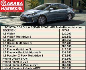 Toyota Corolla fiyat listesi Temmuz