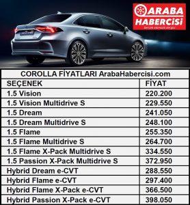 Corolla sedan fiyatları ötv.