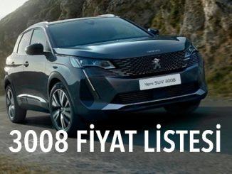 Peugeot 3008 fiyat listesi Eylül.