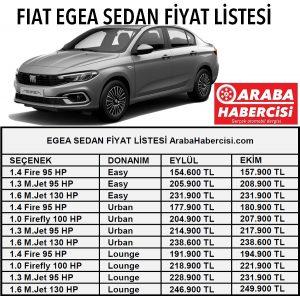 0 km Egea Sedan fiyatı