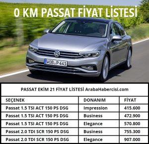 Passat fiyat listesi Ekim 2021.